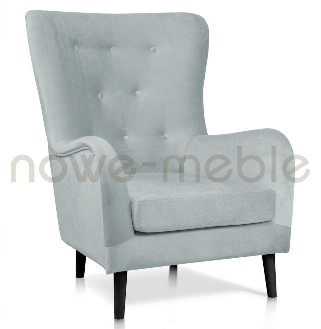 fotel uszak w kolorze srebrnym